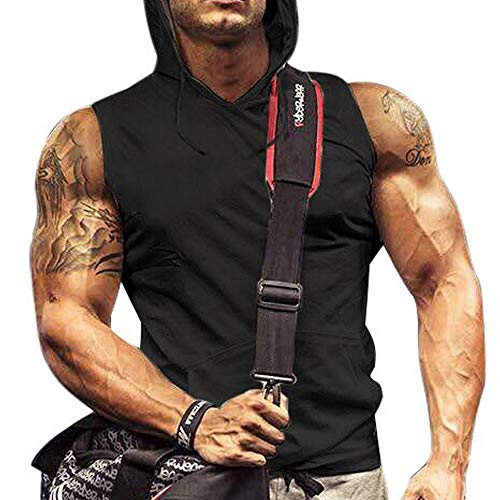 Men's Workout Hooded Tank Tops B...