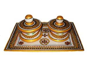 Crafts Paradise Marvellous Marble 2 Container Dry Fruit Decorative Tray Unique Diwali Festival any occassion gifting idea