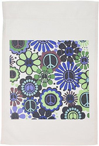 3drose FL 101025_ 1Foto von Painted Frieden Anmeldung Peace sign Floral in violett Aqua N Blue Garden Flagge, 12von 18 -