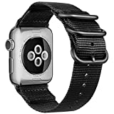 Fnova Apple Watch Armband 38mm Nylon iWatch Canvas NATO Band für 38mm Apple Watch Series 3/2/1, Schwarz