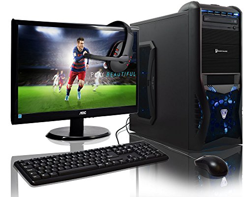 ADMI GAMING PC With Headset, Monitor, Keyboard amp; Mouse - AMD A6-6400k Mid Spec Blue LED, Home, Family, Multimedia Desktop Gaming Computer with Platinum Warranty: Fast Dual Core 4.1GHz CPU with Rad