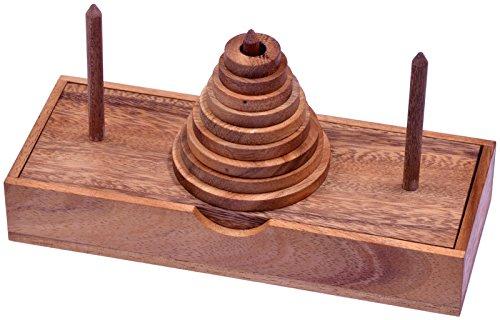 Pagoda - Turm von Hanoi - Denkspiel - Knobelspiel - Geduldspiel - Logikspiel mit 9 Scheiben aus Holz