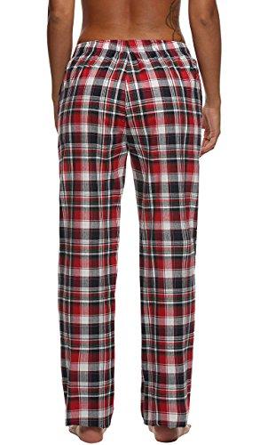 Ekouaer Pantalon Pyjama Femme à Carreaux Coton Bas de Pyjama Taille XS-XL Rouge