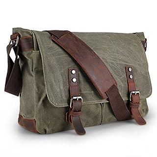 Waterproof Canvas Messenger Bag,Aizbo Men's Crossbody Shoulder Satchel Bag Laptop Bag for 15 Inches, Large Size (Army Green)