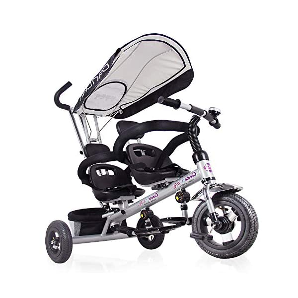 BGHKFF 4 In 1 Kids Tricycle 12 Months To 6 Years 3-Point Safety Belt Child Trike Twin Seat Removable Shade Canopy Detachable And Adjustable Push Handle Kids' Trikes Maximum Weight 30 Kg,Black BGHKFF ★Material: Environmentally friendly paint, suitable for children from 1 to 6 years old, the maximum weight is 30 kg ★ 4 in 1 multi-function: can be converted into baby strollers and tricycles. Remove the awning, hand pusher and guardrail as a tricycle. ★Safety design: Reinforced body, triangular structure, safe and stable, 3-point seat belt + guardrail 9