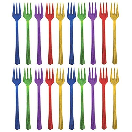 Amscan, set di forchette da festa e buffet, colori assortiti