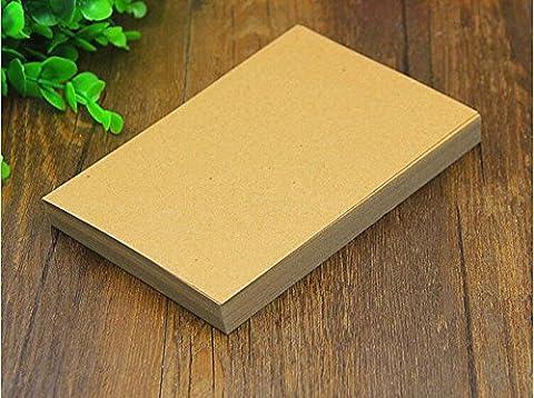 Hamhsin 100pcs A6vierges en papier Kraft/cartes de visite/carte Word/DIY carte