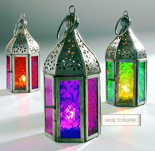 Set di 3 lanterne colorate per candele tea light