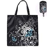 TAOtTAO Shopping Bags Schmetterlings-Falten-Einkaufstasche-Wiederverwendbare Tasche große Kapazitäts-Tragbare Einkaufstasche (Schwarz)