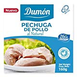 Dumón - 18 Units of 160 gr of Canned Chicken Breasts. Chicken in its own Juice or Water. Canned Food High in Proteins, 26 gr per 100 gr of Natural Jarred Chicken. Easy Open.