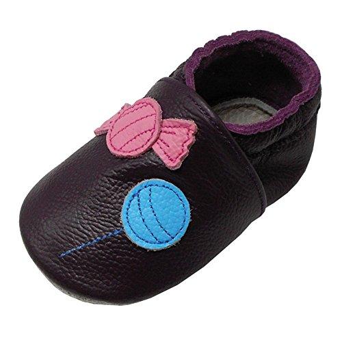 Yalion Baby Weiche Leder Lauflernschuhe Krabbelschuhe Hausschuhe Lederpuschen Bonbons (20/21, Dunkelviolett)