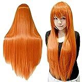 ROKOO Frauen-orange Perücke Langes Haar-Perücken mit Pony-Perücke Cosplay gerade Perücke