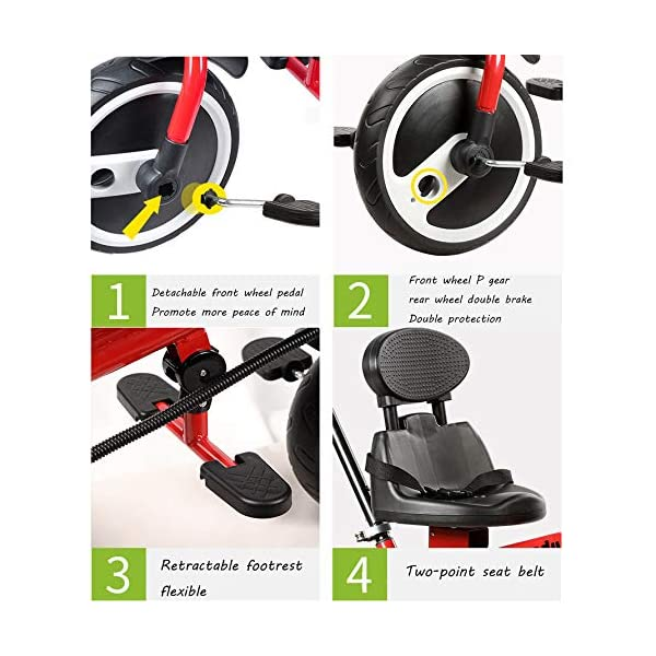 BGHKFF 2 In 1 Children's Hand Push Tricycle 1.5 To 5 Years 2-Point Safety Belt Children's Pedal Tricycle Rear Wheel With Brake Versatile Childrens Tricycles Maximum Weight 25 Kg,Red BGHKFF ★Material: Steel frame, suitable for children aged 1.5-5, maximum weight 25 kg ★ 2 in 1 multi-function: can be converted into baby strollers and tricycles. Remove the hand putter as a tricycle. ★Safety design: golden triangle structure, safe and stable; front wheel clutch, will not hit the baby's foot; 2 point seat belt; rear wheel double brake 5