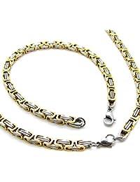 Set cadena Rey, Pulsera de cadena y collar de acero inoxidable encintado fuerte color plata oro 60cm/22 cm