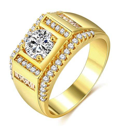 Herren-Ring Gold Zirkonia Männer Schmuck mit 18K Vergoldet Band Ringe Eheringe Trauringe Hochzeit Geschenk für Vater Ehemann