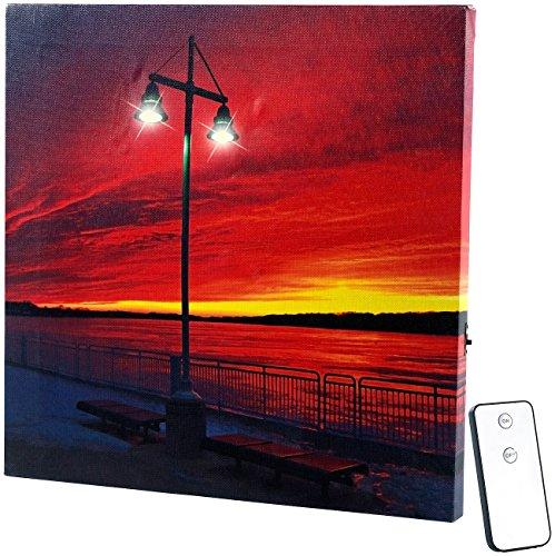 infactory Fotoleinwand beleuchtet: LED-Leinwandbild mit Beleuchtung, Uferpromenade inkl. Fernbedienung (Leinwand mit LED Beleuchtung)