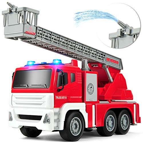 GizmoVine Feuerwehrauto mit Wasserspritze Wasserpumpe Spielzeugautos Reibung angetrieben BauSpielzeug mit Lichtern und Tönen für Jungen und Mädchen