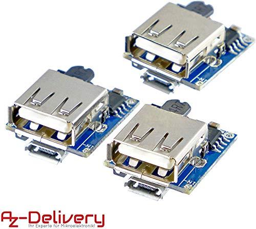 AZDelivery 3 x Power Bank Modul Laderegler TP5400 Micro USB und USB Anschluss für Arduino