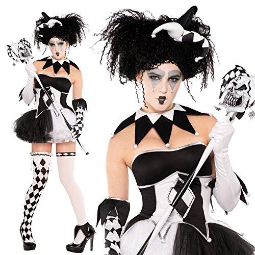 na Honey Harley Quinn Batman Baddy Kostüm 9 Erinnerungsstücke, Größe 42-44, Schwarz und Weiß, Sexy Strümpfe, mit Korsett und Tutu (Harley Quinn Korsett)