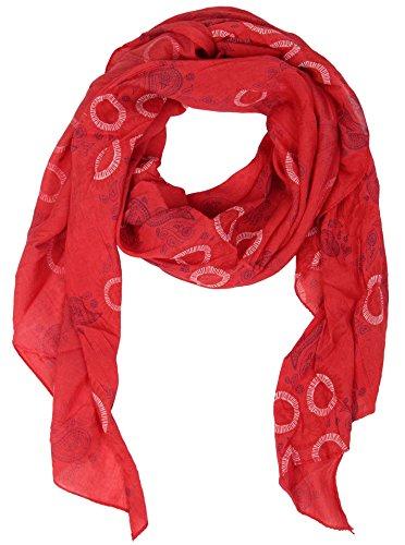 Zwillingsherz Seiden-Tuch für Damen Mädchen Paisley Elegantes Accessoire/Baumwolle/Seiden-Schal/Halstuch/Schulter-Tuch oder Umschlagstuch einsetzbar - rot (Damen Seide Schals)