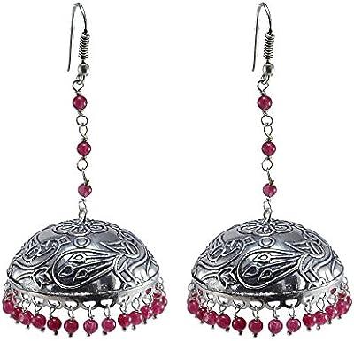 Rosa cuarzo pendientes, templo joyería india plata jhumkas-large Jhumki gitana tribal joyería por silvesto India pg-30507