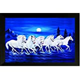 SAF Photograph 7974E Seven Running Horses||vastu Painting For Home And Office||Seven Lucky Running Horses Painting || 7 Horses Painting ||seven Horses||vastu Horses||Shyam Art 'N' Frame Exclusive Framed Wall Art Paintings(Wood,35cmx 2Cmx 50Cm Framed Paint