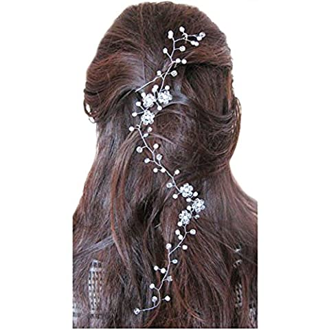 Chicer Bridal Hair Vine Hair Piece Crystal Wedding Accessory for Women( White)