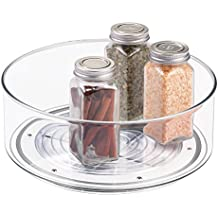 mDesign Lazy Susan piatto girevole porta spezie – Vassoio porta barattoli ideale per cucina o dispensa – Funzionale organizer girevole in plastica – trasparente