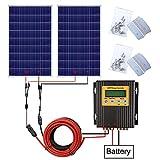 eco-worthy 120W 18V pannello solare kit: 2pcs 120W pannello solare, 20A MPPT Charge controller, y MC4Solar cavo connettori, 5m cavi solari e Z Style kit di montaggio per off-grid applications