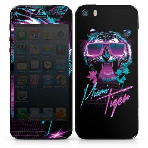Apple iPhone 5 Case Skin Sticker aus Vinyl-Folie Aufkleber Miami Tiger Sonnenbrille DesignSkins® glänzend
