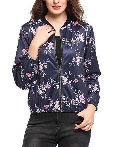 Zeagoo Damen Blumen Bomberjacke Gepolstert mit Reißverschhluss Kurz Jacke mit Stehkragen Navy Blau S