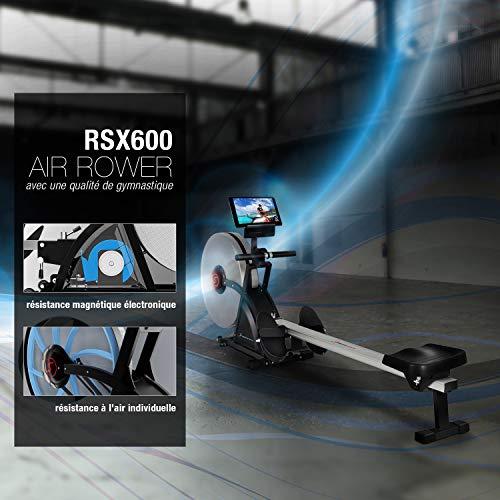 Sportstech 2in1 rameur Professionnel Pliable RSX600 - Marque Allemande de qualité - Vidéo Events et système de freinage magnétique multijoueur APP & 16 programmes d'entraînement, Mode compétition