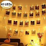 DENFIVE 40 LED Fotoclips mit Lichterkette – 6m Länge – Fotolichterkette zum stilvollen dekorieren – LED Fotokette – LED Lichterkette – Deko Klammern – Fotoschnur mit Klammern – Clip Bilder