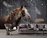 BHXINGMU Benutzerdefinierte Wandbilder Tapeten Pferde Und Federn Wohnzimmer Tv Sofa Hintergrund Wandbilder Moderne Tapete 150Cm(H)×200Cm(W)