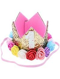 Frcolor Princesa Corona Cumpleaños Bautizo para Bebé de Flor 1 Año Edad con Flores Colores