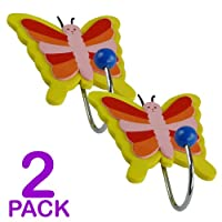 Childrens Butterfly Coat Hooks - Door Wall Hooks (2 Pack)