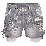 kurze Jeans-Lederhose Bea in Anthrazit von Krüger Dirndl, Größe:34, Farbe:Anthrazit