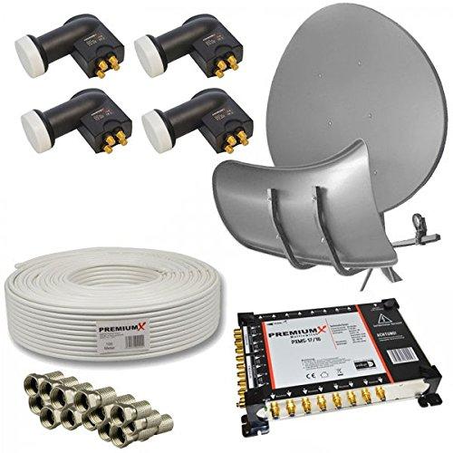 SAT Antenne Wave T90 Toroidal Wavefrontier Anthrazit + PremiumX 17/16 Multischalter mit 4x PremiumX Quattro LNB 0,1dB HD 4K + 100m Koaxkabel inkl. 60x F-Stecker mit Dichtring HDTV für 16 Teilnehmer