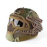 Lanlan Multifunktions-Tactical Helm System umfassenden Schutz Face Mask und Brillen Helme für Militär Paintball Planspiel, Hellkhaki