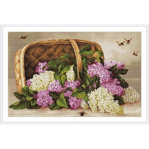 Luca-S - Juego de punto de cruz, diseño de cesta con lilos