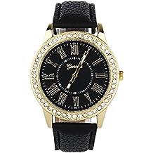 Amlaiworld Orologio da polso per Donne, Moda colorata Geneva strass cuoio orologio al quarzo ( nero) - Cinturino Strass Guarda