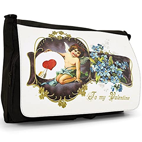 To My Valentine Cupid Holding Heart Plate Black Large Messenger School Bag