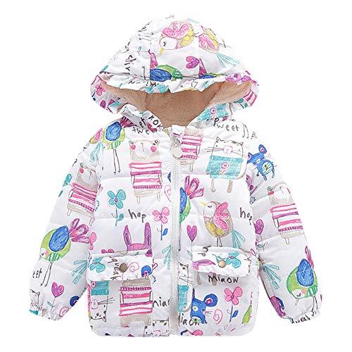 Kobay Kinder Baby Mädchen Jungen Winter Warme Kapuze Tier Graffiti Plus SAMT Gepolsterte Mantel Dicke Jacke Oberbekleidung(3-4T,Weiß)