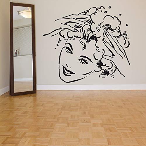 yaoxingfu Mädchen Friseursalon Schönheit Kopf Entfernbare Wandaufkleber Für Friseur Wohnzimmer Hintergrund Vinyl Tapete Kunst Wandbilder rot 97x85 cm