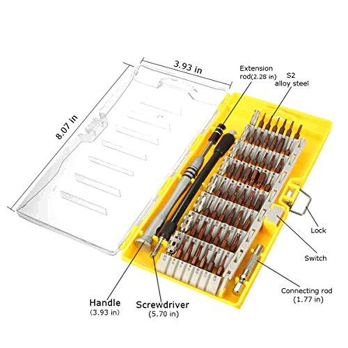 Magnetische Schraubendreher Set, MECO 60-in-1 mit 56 magnetischen Schraubendrehersatz Driver Kit, Präzisions Schraubenzieher Set, Reparaturset Tool für Elektronik/ XBOX/Smartphone/Tablet/PC/MacBook Gelb