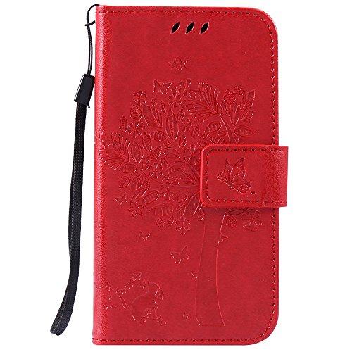 Samsung Galaxy J1 Ace / J110 Cover, Docrax Custodia Portafoglio in Pelle Porta Carta di Credito con Funzione di Supporto di Stand Antiurto Flip Cover a Libro per Samsung Galaxy J1Ace - DOKTU41129 Rosso
