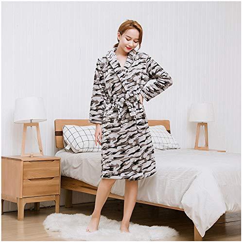 Handaxian Herbst und Winter Flanell Bademantel Damen Home Service Langarm Bademantel Pyjama