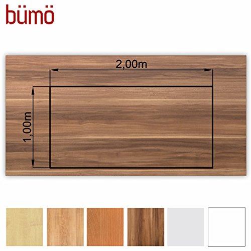 Bümö® stabile Tischplatte 2,5 cm stark - DIY Schreibtischplatte aus Holz   Bürotischplatte belastbar mit 120 kg   Spanholzplatte in vielen Formen & Dekoren  Platte für Büro, Tisch & mehr (Rechteck: 200 x 100 cm, Zwetschge)