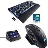 Corsair K63 Clavier Mécanique Gaming sans Fil (Cherry MX Red, Rétro-Éclairage LED Bleu, AZERTY) Noir + Elgato Stream Deck Mini + Dark Core RGB Optique Souris Gaming sans Fil