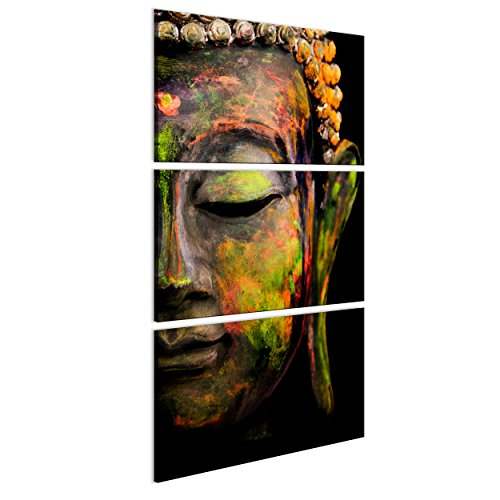 decomonkey Bilder Buddha 60x120 cm | 3 Teilig | Leinwandbilder | Bilder | Vlies Leinwand | Bilder | Wand | Bild auf Leinwand | Wandbild | Kunstdruck | Wanddeko | Buddhismus
